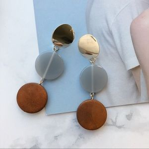 Jewelry - Chic Wood Round Metal Drop Earrings